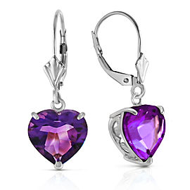 14K Solid White Gold Leverback Earrings Natural 10mm Heart Amethysts