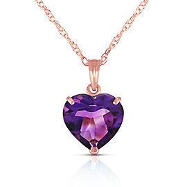 14K Solid Rose Gold Necklace with Natural 10mm Heart Amethyst