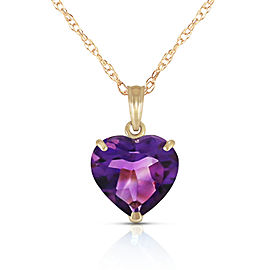 14K Solid Gold Necklace with Natural 10mm Heart Amethyst