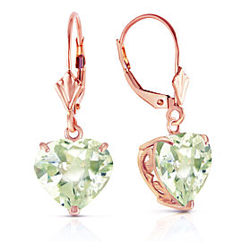 14K Solid Rose Gold Leverback Earrings Natural 10mm Heart Green Amethysts