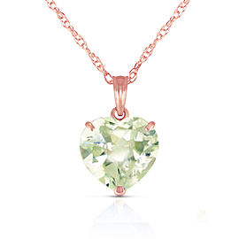 14K Solid Rose Gold Necklace with Natural 10mm Heart Green Amethyst