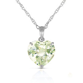 14K Solid White Gold Necklace with Natural 10mm Heart Green Amethyst