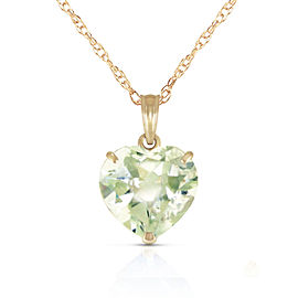 14K Solid Gold Necklace with Natural 10mm Heart Green Amethyst