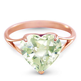 14K Solid Rose Gold Ring with Natural 10.0 mm Heart Green Amethyst