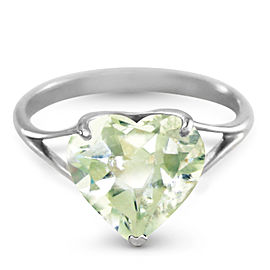 14K Solid White Gold Ring with Natural 10.0 mm Heart Green Amethyst