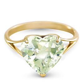 14K Solid Gold Ring with Natural 10.0 mm Heart Green Amethyst