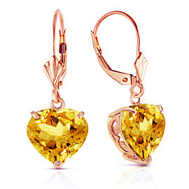 14K Solid Rose Gold Leverback Earrings Natural 10mm Heart Citrines