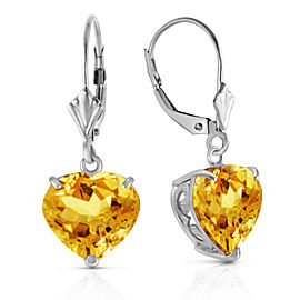 14K Solid White Gold Leverback Earrings Natural 10mm Heart Citrines