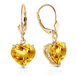 14K Solid Gold Leverback Earrings Natural 10mm Heart Citrines