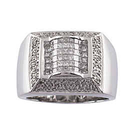 14K White Gold with Diamond Plaque Ring Size 12.5