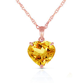 14K Solid Rose Gold Necklace with Natural 10mm Heart Citrine