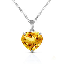 14K Solid White Gold Necklace with Natural 10mm Heart Citrine