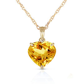 14K Solid Gold Necklace with Natural 10mm Heart Citrine