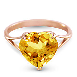 14K Solid Rose Gold Ring with Natural 10.0 mm Heart Citrine