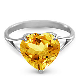 14K Solid White Gold Ring with Natural 10.0 mm Heart Citrine