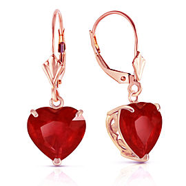 14K Solid Rose Gold Leverback Earrings Natural 10mm Heart Ruby