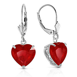 14K Solid White Gold Leverback Earrings Natural 10mm Heart Ruby