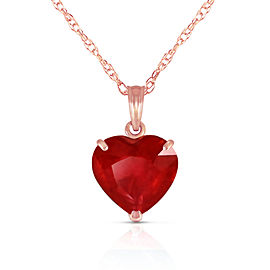 14K Solid Rose Gold Necklace with Natural 10mm Heart Ruby