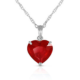 14K Solid White Gold Necklace with Natural 10mm Heart Ruby