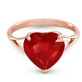 14K Solid Rose Gold Ring with Natural 10.0 mm Heart Ruby