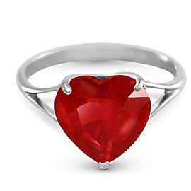 14K Solid White Gold Ring with Natural 10.0 mm Heart Ruby