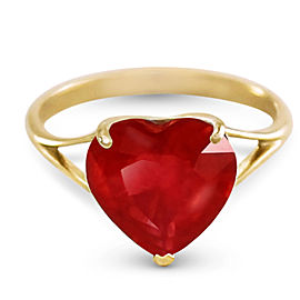 14K Solid Gold Ring with Natural 10.0 mm Heart Ruby