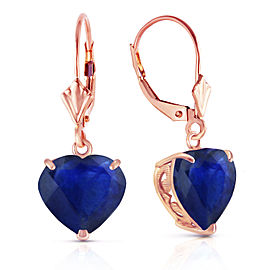 14K Solid Rose Gold Leverback Earrings Natural 10mm Heart Sapphires