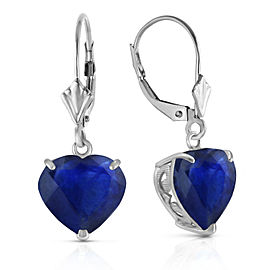 14K Solid White Gold Leverback Earrings Natural 10mm Heart Sapphires