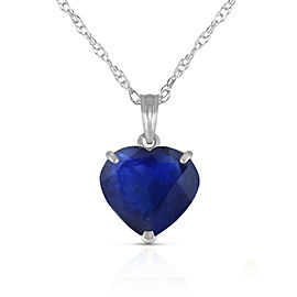 14K Solid White Gold Necklace with Natural 10mm Heart Sapphire