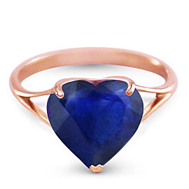 14K Solid Rose Gold Ring with Natural 10.0 mm Heart Sapphire