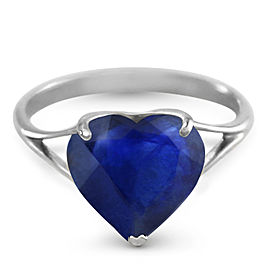14K Solid White Gold Ring with Natural 10.0 mm Heart Sapphire