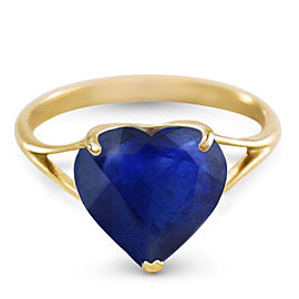 14K Solid Gold Ring with Natural 10.0 mm Heart Sapphire