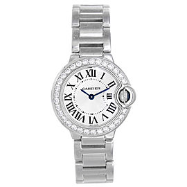 Cartier Ballon Bleu WE9003Z3 18k White Gold Diamond 28mm Watch
