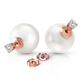 14K Solid Rose Gold Stud 0.80 CTW Natural Diamonds Earrings with White Shell Cultured Pearls