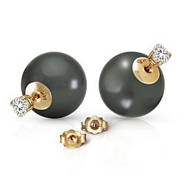 14K Solid Gold Stud 0.80 CTW Natural Diamonds Earrings with Black Shell Cultured Pearls