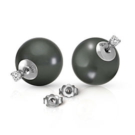 14K Solid White Gold Stud 0.40 CTW Natural Diamonds Earrings with Black Shell Cultured Pearls