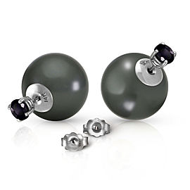 14K Solid White Gold Stud 1.0 CTW Natural Black Diamonds & Black Shell Cultured Pearl Earrings
