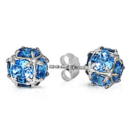 14K Solid White Gold Stud Earrings with Natural Blue Topaz