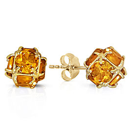 14K Solid Gold Stud Earrings with Natural Citrines