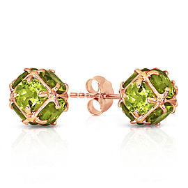 14K Solid Rose Gold Stud Earrings with Natural Peridots