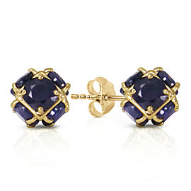 14K Solid Gold Stud Earrings with Natural Sapphires