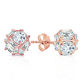 14K Solid Rose Gold Stud Earrings with Natural Aquamarines