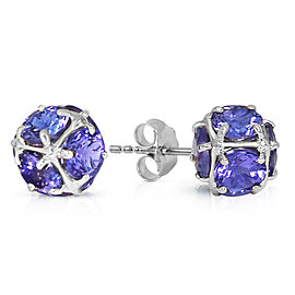 14K Solid White Gold Stud Earrings with Natural Tanzanites