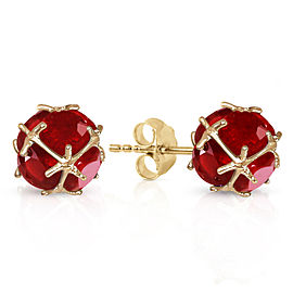 14K Solid Gold Stud Earrings with Natural Ruby