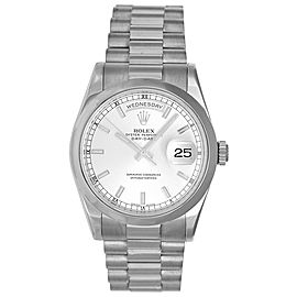 Rolex President Day-Date 118209 18K White Gold Silver Dial Automatic 36mm Mens Watch