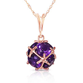 14K Solid Rose Gold Necklace with Natural Amethysts