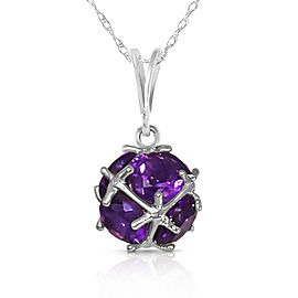 14K Solid White Gold Necklace with Natural Amethysts