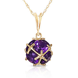 14K Solid Gold Necklace with Natural Amethysts
