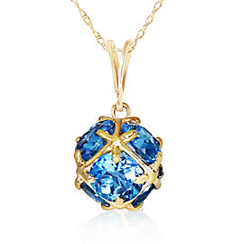 14K Solid Gold Necklace with Natural Blue Topaz