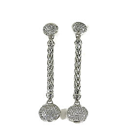 John Hardy 18K White Gold, Sterling Silver Classic Chain Pave Diamond Long Drop Earrings